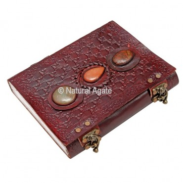 Beautiful Leather Journals with Attached Stones B