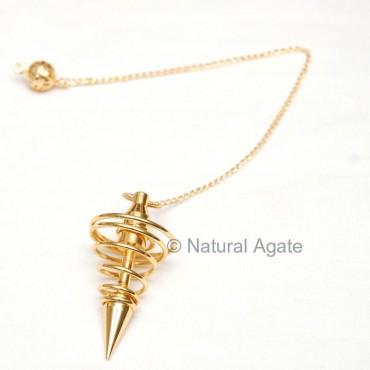Gold Plated Spiral Pendulums