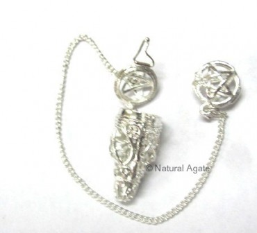 Pentagram Silver Metal Pendulums