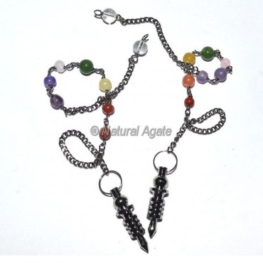 Tiny Black Copper Metal Pendulums with Chakra Chain