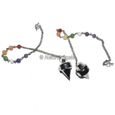 Bullet Point Black Copper Pendulums with chakra Chain