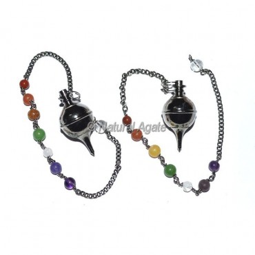Opanable Black Copper Ball Pendulums with Chakra Chain