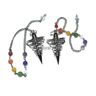 Small Spiral Black Copper Pendulums with chakra chain