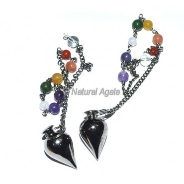 Black Copper Drop Metal Pendulums with chakra chain