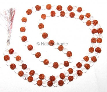 Crystal Quartz And Rudraksha Mala