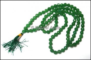 Green Jade Faceted Mala Beads