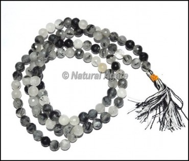 Black Rutile Quartz Faceted Jap Mala