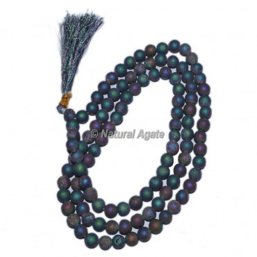 Rainbow Plated Druzy Beads Jap Mala