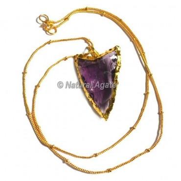 Violet Glass Random Flaking Arrowhead Necklace