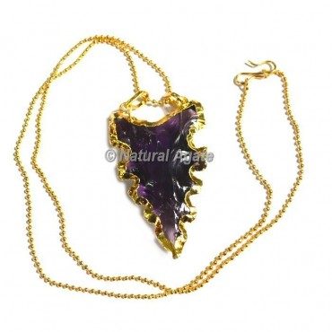 Violet Glass Serrated Edge Arrowhead Necklace