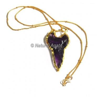 Violet Glass Keruzoret Type Arrowhead Necklace