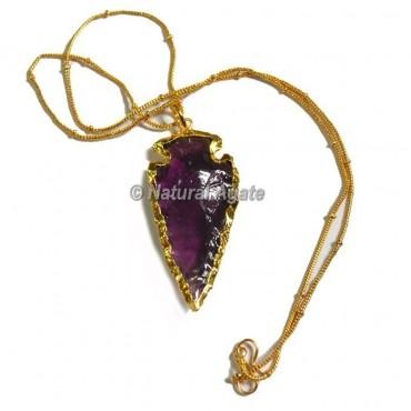violet Glass Cazin Type Arrowhead Necklace