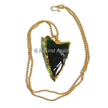 Green  Glass Random Flaking Arrowhead Necklace