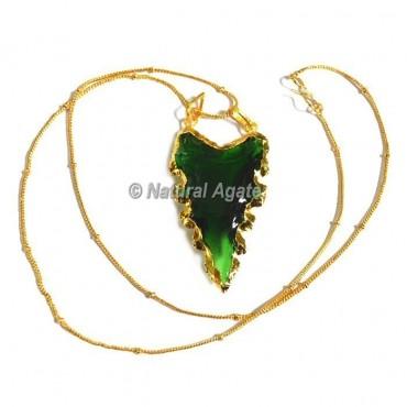 Green  Glass Serrated Edge Arrowhead Necklace