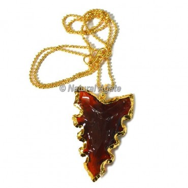 Red Glass Serrated Edge Arrowhead Necklace