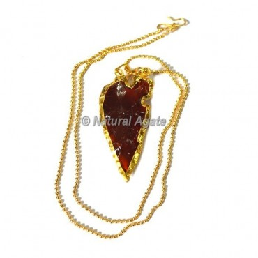 Red Glass Collateral With Median Ridge Arrowhead Necklace