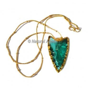 Blue Glass Random Flaking Arrowhead Necklace