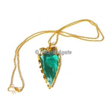 Blue Glass Horizontal Transverse Arrowhead Necklace