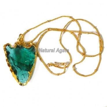 Blue Glass Cazin Type Arrowhead Necklace