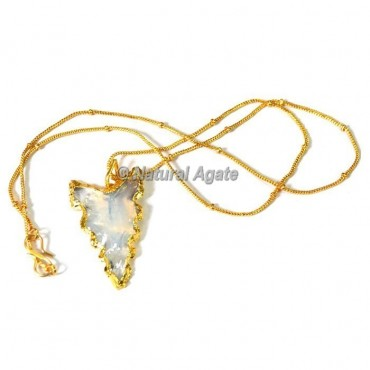 White Glass Electroplated Arrowhead Necklace