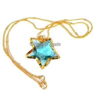 Light Blue Glass  Star  Arrowhead Necklace
