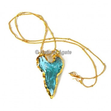 Light Blue Glass Cazin Type  Arrowhead Necklace