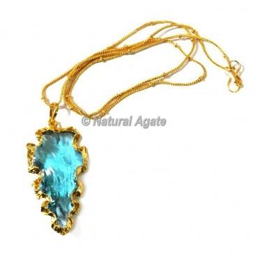 Light Blue Glass Electroplated  Arrowhead Necklace
