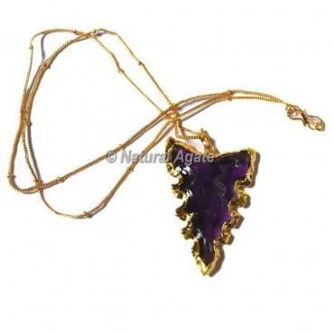 Violet Glass  Horizontal Transverse  Arrowhead Necklace