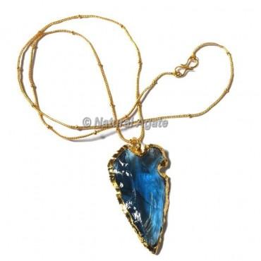Aqua Glass Oblique Transverse  Arrowhead Necklace