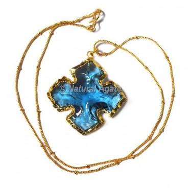 Aqua Glass Flower  Arrowhead Necklace