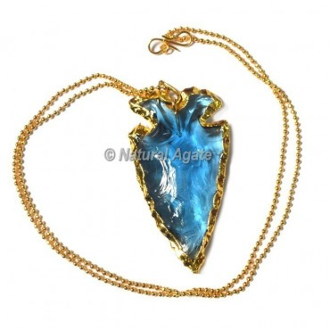 Aqua Glass Random Flaking  Arrowhead Necklace
