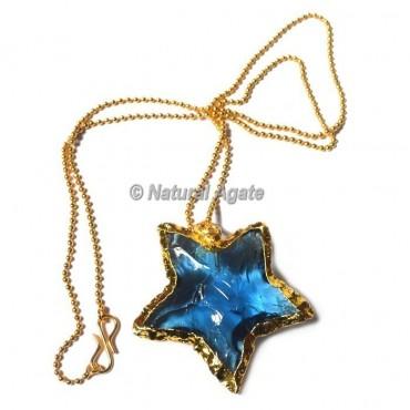 Aqua Glass Star  Arrowhead Necklace