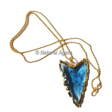 Aqua Glass Horizontal Transverse  Arrowhead Necklace