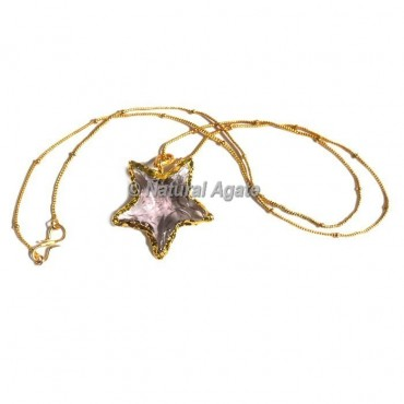 Pink Glass Star  Arrowhead Necklace