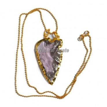 Pink Horizontal Transverse  Arrowhead Necklace