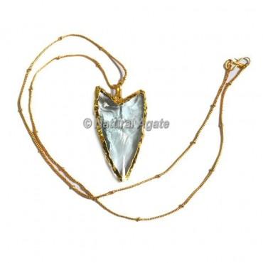 Light Aqua Glass  Horizontal Transverse  Arrowhead Necklace