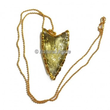 Yellow Glass Collateral With Median Ridge  Arrowhead Necklace
