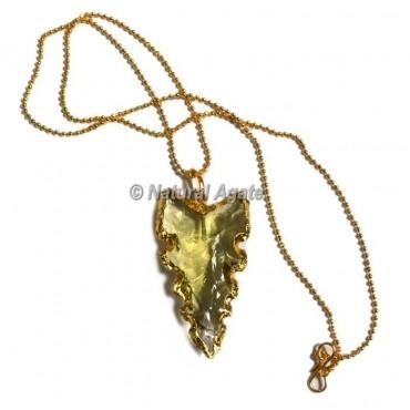 Yellow Glass Serrated Edge  Arrowhead Necklace