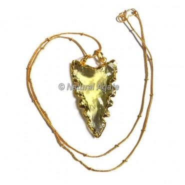 Yellow Glass Electroplated  Arrowhead Necklace