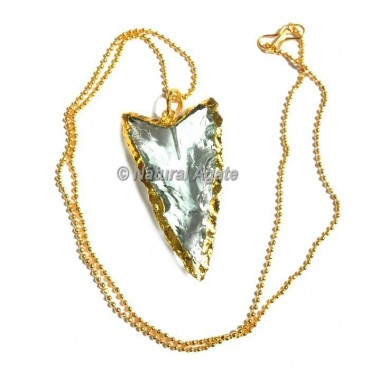 Light Aqua Glass Collateral With Median Ridge Arrowhead Necklace