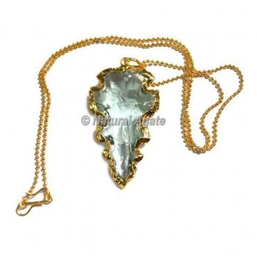 Light Aqua Glass Cruguel Type  Arrowhead Necklace