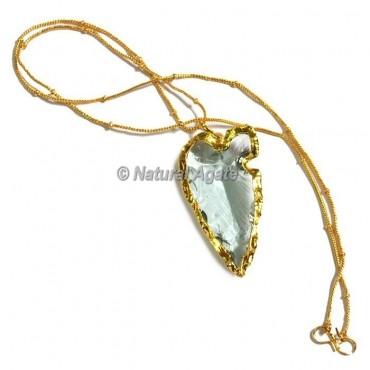 Light Aqua Glass Rumedon Type  Arrowhead Necklace