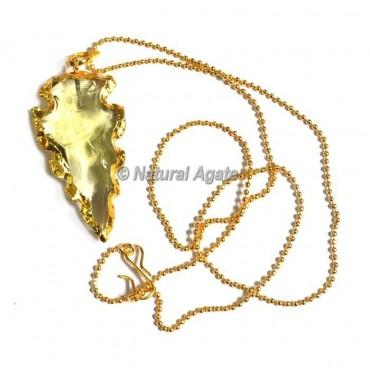 Yellow Glass Cazin Type  Arrowhead Necklace