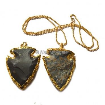 Agate Fish  Arrowhead Necklace