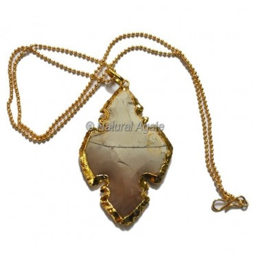 Agate Kerguevarec Type  Arrowhead Necklace