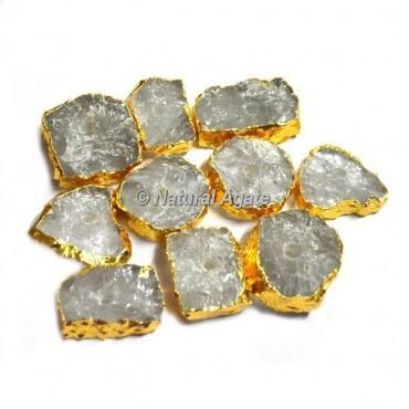 Plated Crystal Quartz Natural Knob