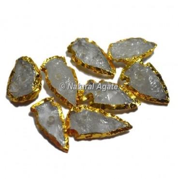 Plated Crystal Quartz Arrowhead ShapeNatural Knob
