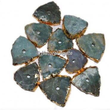 Plated Moss Agate Triangle Shape Natural Knob