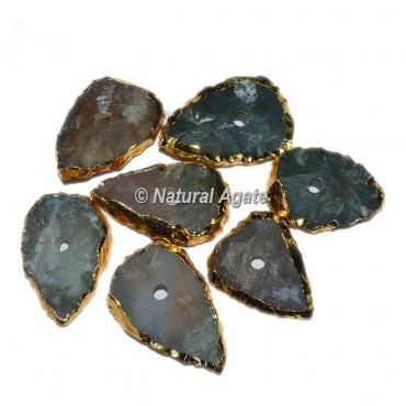 Plated Moss Agate Tear Drop Shape Natural Knob