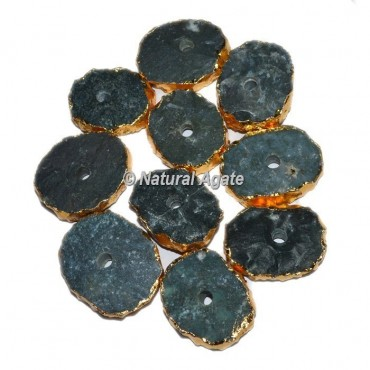 Plated Moss Agate Oval Shape Natural Knob